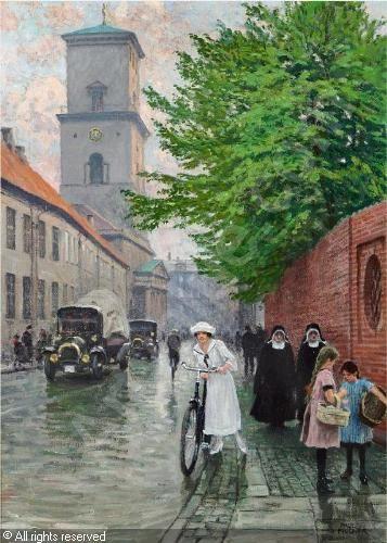 Paul Gustave Fischer (1860-1934):  Parti fra Nørregade