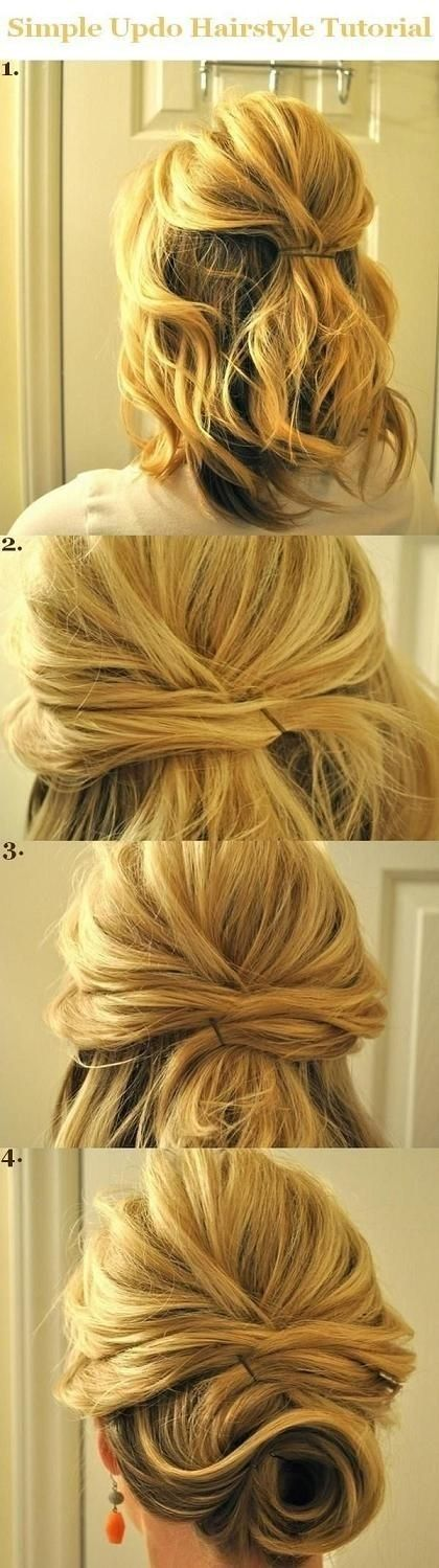 Updo Hairstyles Tutorials for Medium Hair: Simple Half Updos - PoPular Haircuts