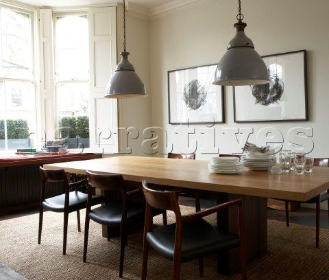 Love The Industrial Look Of Lights Large Dining Room