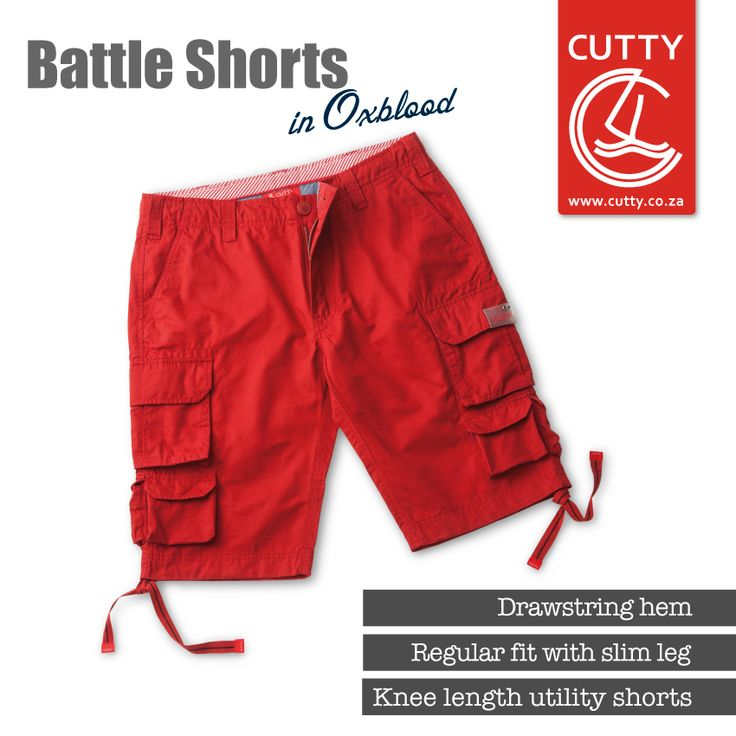 Rough, rugged and ready for anything. Introducing Cutty's Battle Shorts. Made from a durable cotton fabric, these cool, knee-length utility shorts have a zip and button fly, subtle branding, drawstring hems and plenty of pockets for stashing all your stuff.