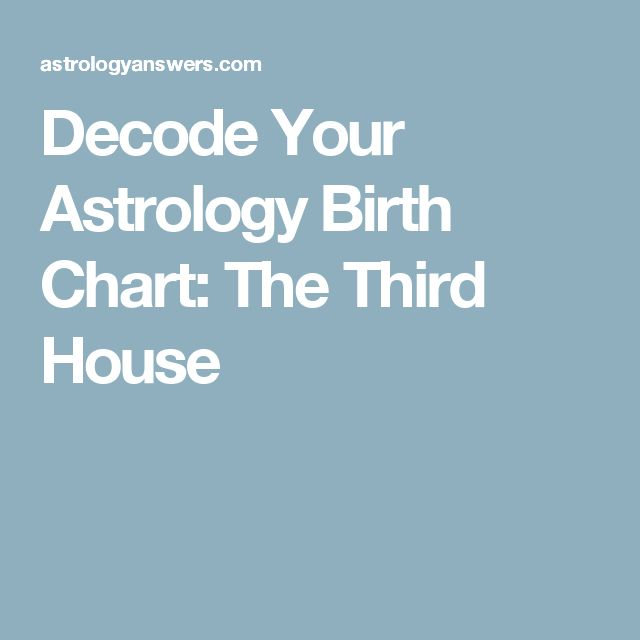Decode Your Astrology Birth Chart: The Third House