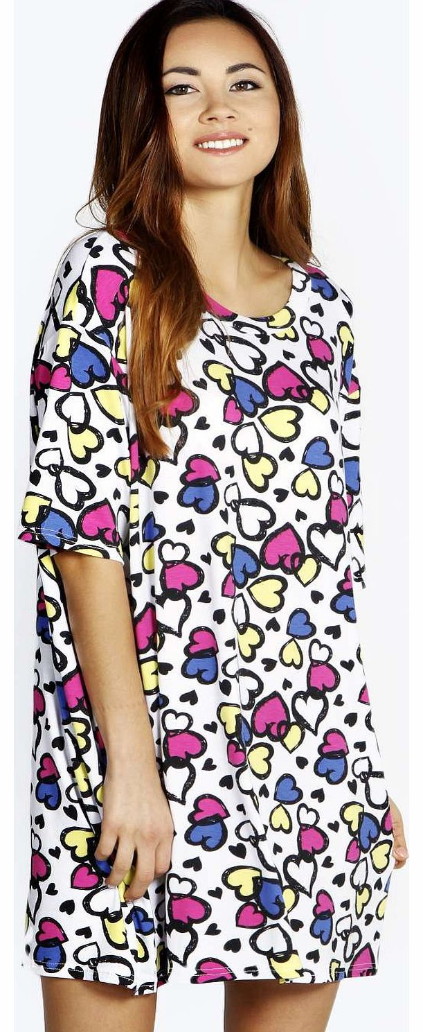 Black t shirt nightdress - Boohoo Tracie Multi Heart Oversized Tshirt Nightdress Youll Be Saying No To Nights Out When