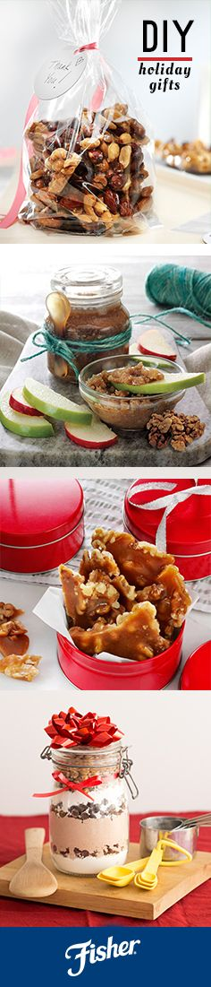 Homemade holiday gifts are meaningful and can be very delicious. Try making a nut butter, seal it in a small jar tied with ribbon and add a wooden spoon to the outside. Nut mixes and brittles can be customized in bags or boxes sealed with a written letter. And there's many more gift ideas where that came from!