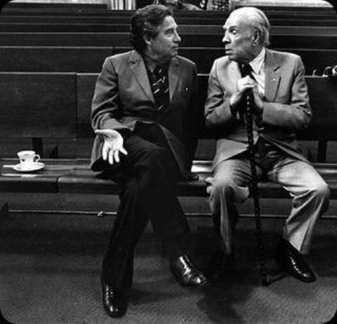 Jorge Luis Borges (on right), the Argentine surrealist, magical realist and existentialist writer, with Octavio Pas, the Mexican poet.