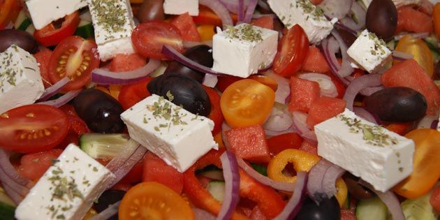 Græsk salat med vandmelon