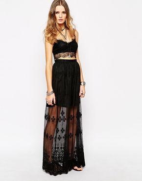 Aumentar Falda larga transparente con bordados de Glamorous