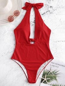 Swimsuit One Piece Modest Swim Dress, Halter Backless Keyhole Knotted Swimsuit