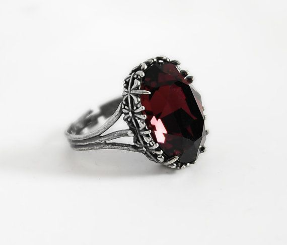Burgundy Gothic Ring Red Swarovski Crystal Dark Antique Silver Victorian Gothic Jewelry