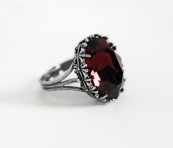 Burgundy Gothic Ring Red Swarovski Crystal Dark Antique Silver Victorian Gothic Jewelry