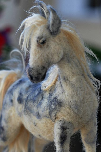 Incredible piece of fiber artistry, a needle felted horse by Daria Lvovsky