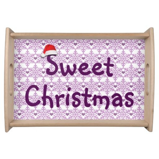 Sweet Christmas Snowflake heart pattern in purple-lavender color / Service Food Tray. #fomadesign