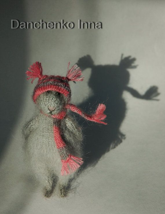 Knitted Mouse Toy Soft Sculpture - made to order