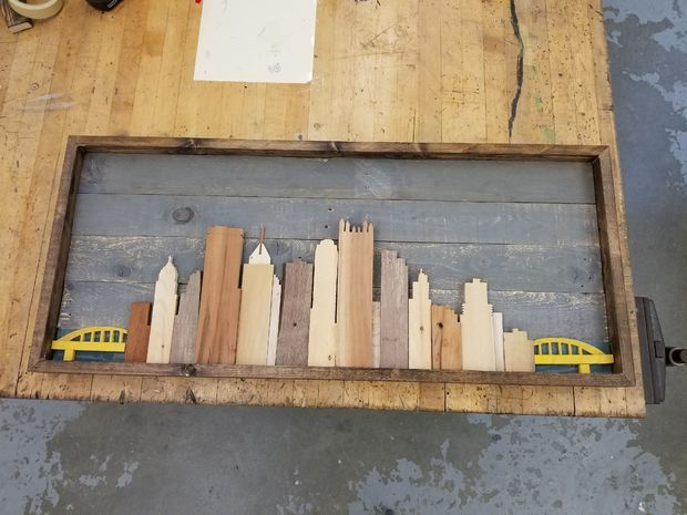 Reclaimed Wood Pittsburgh Skyline Wood Projects Cool Woodworking Projects Barn Wood Projects