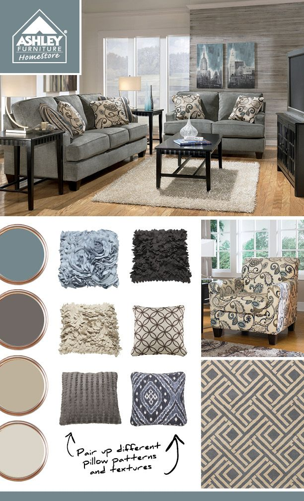 Pillows mix match textures with patterns on trend for Matching living room furniture