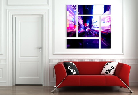 Night street abstract wall design 899 42x42 inches wall design of 5