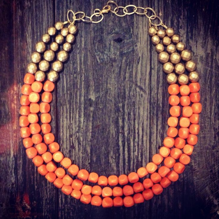 Orange & Gold Statement Necklace  by icravejewels on Etsy, $58.00