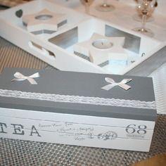 Boîte gris et blanc dentelle à reprendre en rangement, ou boîte à mouchoirs