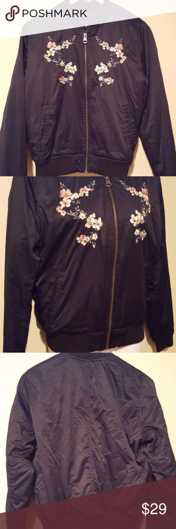 American Eagle Embroidered Bomber Jacket Small Bla Brand: American Eagle Outfitters Size: small Flaws:   No rips, stains or holes.  Color:  black  Armpit to armpit measures –   21 inches  Length of jacket -  24 inches American Eagle Outfitters Jackets & Coats