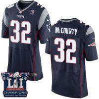 Men's New England Patriots #32 Devin McCourty Navy Blue Team Color Super Bowl LI Champions Nen Elite Jersey