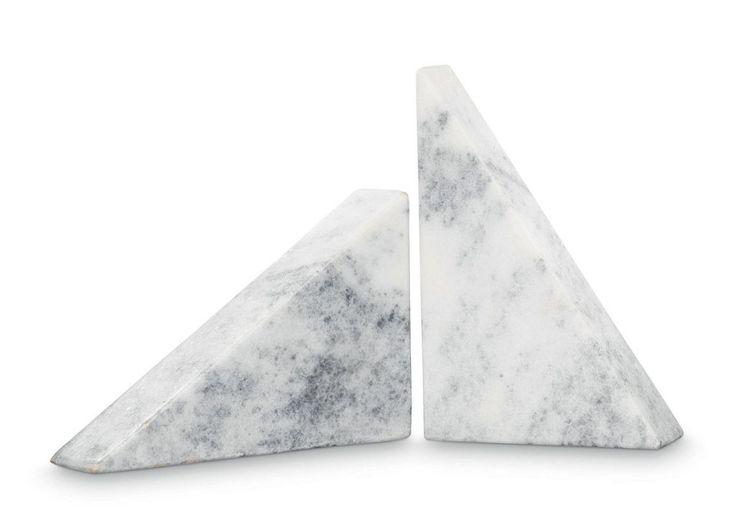 Grafiske bogstøtter i marmor