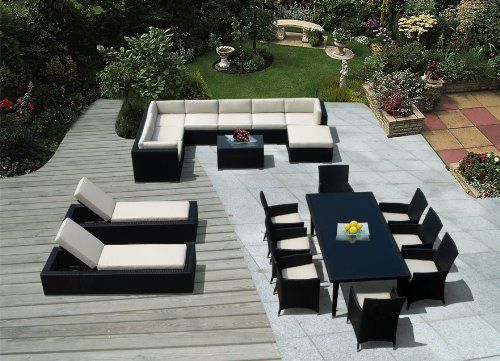 Genuine Amazing Ohana Outdoor Sectional Sofa, Dining and Chaise Lounge Wicker Patio Furniture Set (20 PC set) with Free Patio Cover by Ohana Collection. $4299.00. Sofa 9 pc set includes 3 Corner Sofas + 4 Middle Sofas + 1 Ottoman + 1 Coffee Table.  The Sofa set is 28 inches tall to provide full support for your back.. All Weather Wicker Amazing 9 pc sectional sofa set, 9 pc dining set plus 2 Chaise Lounge Set ( 20 PC Set ). Dining set includes 8 chairs.  ( beige cushions...