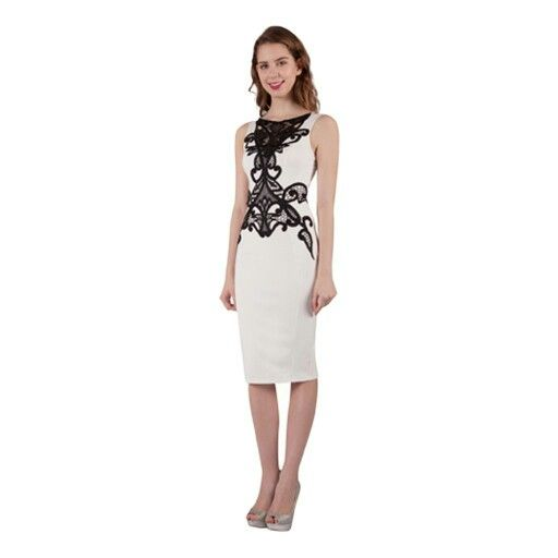 This fitted dress also comes in black with white lace.