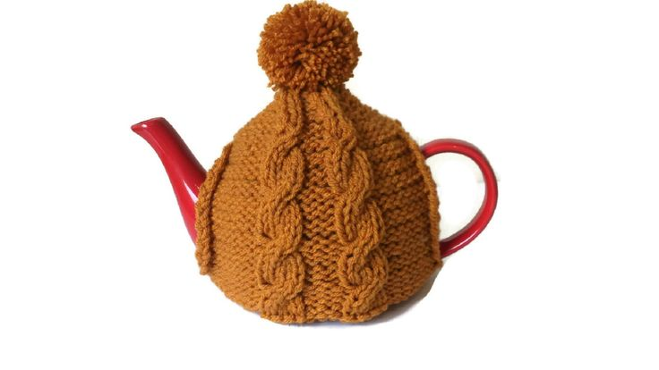 Mustard Tea Cosy Hand Knitted Cable Pom Pom Bobble Cozy by thekittensmittensuk on Etsy