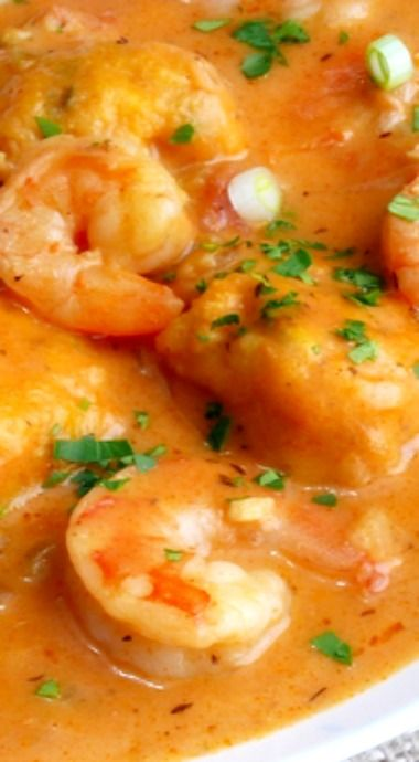 Creamy Shrimp Creole Soup with Bacon-Cornmeal dumplings