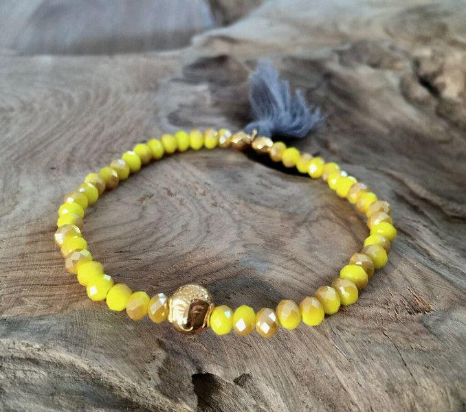 Armbänder - Perlen Armband gelb Buddha gold - ein Designerstück von saniLou bei DaWanda