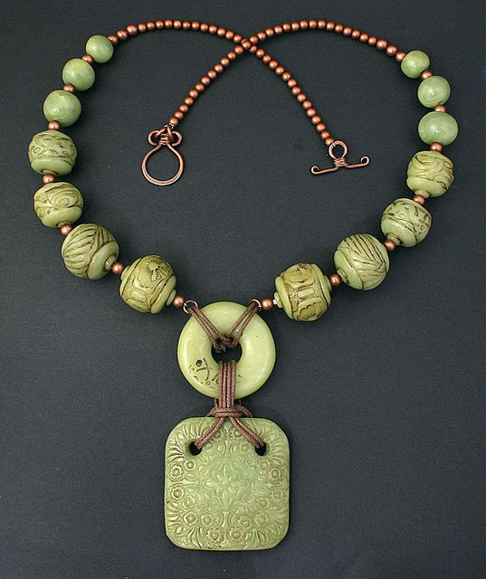 Necklace   Dorothy Siemens.  Polymer Clay Faux Jade