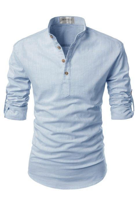 Mens Sky Blue Henley Mandarin Collar Roll-up Long Sleeved Linen Shirts