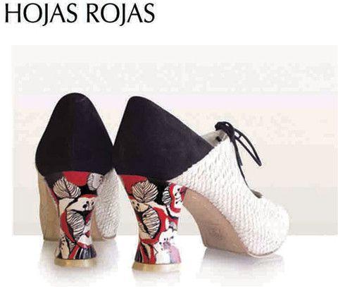 Zapato baile flamenco Begoña Cervera Modelo Hojas Rojas