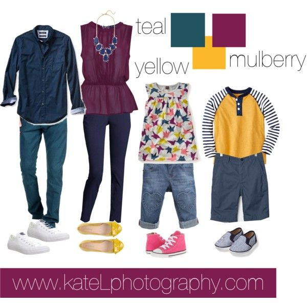 Teal + Yellow + Mulberry // Family Outfit by katelphoto on Polyvore featuring Miss Selfridge, ZAC Zac Posen, PrimaDonna, Converse, Banana Republic and TrueNYC