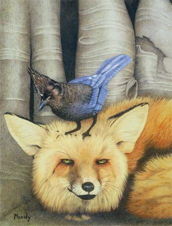 """""""Pals"""" by Cirocco Moody - fox and . . . what bird is that?"""