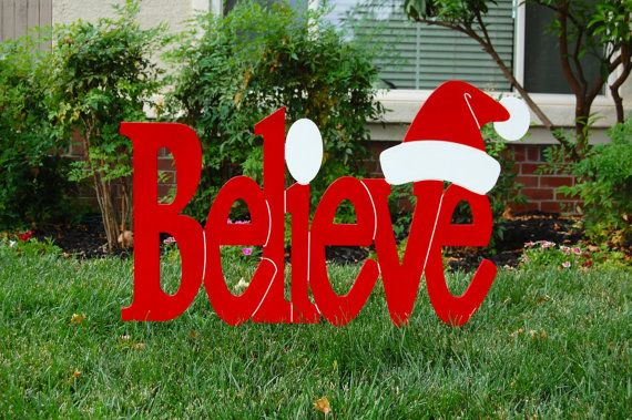 Believe in Santa Red Outdoor Christmas by IvysWoodCreations