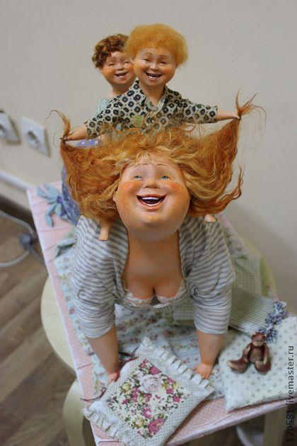 "Collectible handmade dolls.  Fair Masters - handmade Dolls ""Game of the horse.""  Handmade."