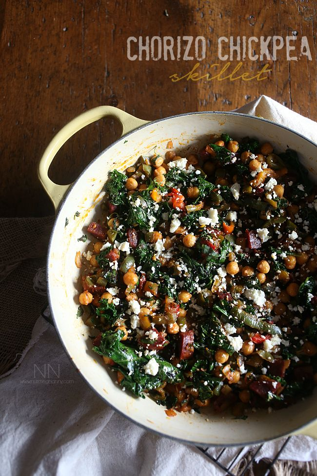 This chorizo chickpea skillet is packed full of spicy chorizo sausage, chickpeas, kale, sweet bell peppers and cotija cheese. Healthy and perfect for winter