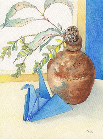 Blue Repose, Crane no. 1 - watercolour by Zoya Makarova.  The blue origami crane is resting in front of the rustic brown pot made by Bendigo Pottery.