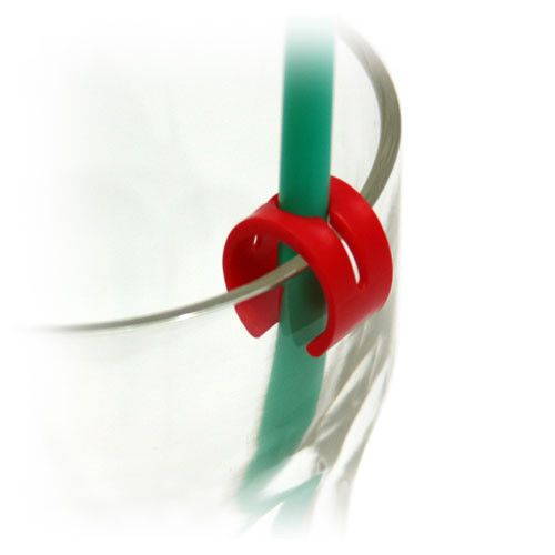 Strawberi Straw Holder. A simple to use straw holder which secures the straw in place and allows for hands free drinking.