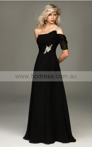 One Sleeve Zipper One Shoulder Floor-length Chiffon Evening Dresses dt00298--Hodress