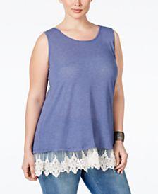 ING Trendy Plus Size Lace-Trim Knit Tank Top