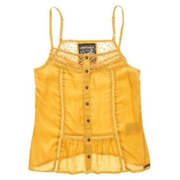 Superdry Kansas Button Through Cami Top ($30) ❤ liked on Polyvore featuring tops, camisole tops, yellow top, cami top, cami tank tops and cami tank