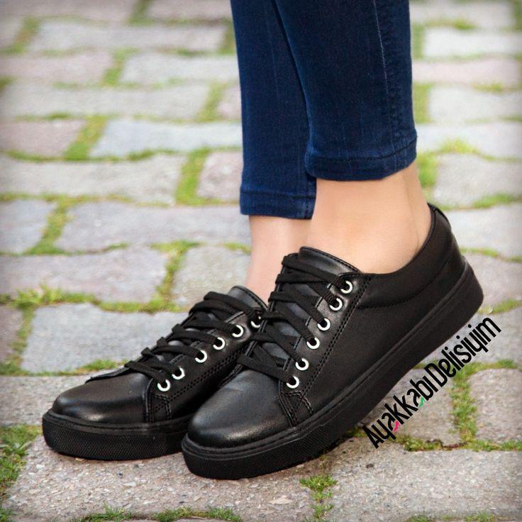 Siyah Deri Spor Ayakkabı #shoes #sneakers