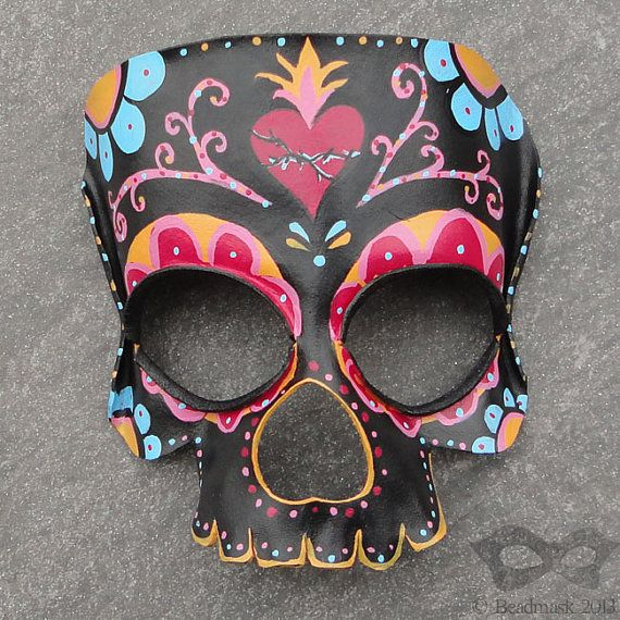 Sugar Skull Leather Mask Day Of The Dead Calavera by ...