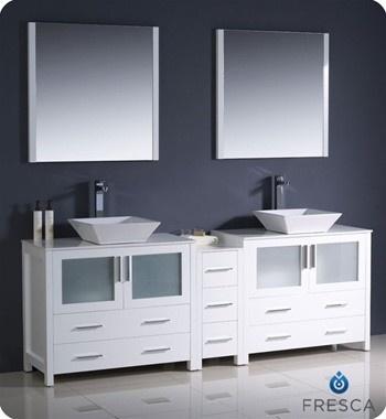 Photo Album For Website Fresca Torino White Modern Double Sink Bathroom Vanity with Side Cabinet Vessel Sinks