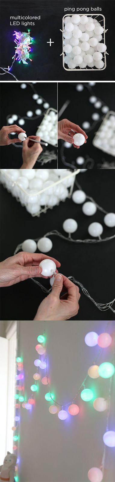 Pisca pisca feito com bolas de ping pong - Faça você mesmo. | Um lar para Amar - Blog de decoração.