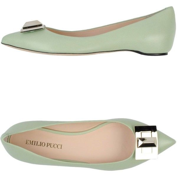 EMILIO PUCCI Ballet flats (1,510 GTQ) ❤ liked on Polyvore featuring shoes, flats, light green, ballet pumps, leather flats, ballet flat shoes, leather shoes and genuine leather shoes