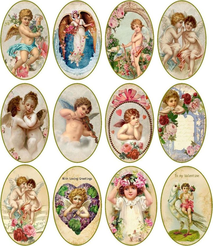 Valentine 12 large vintage pictures oval stickers crafts glossy assorted #HandMade