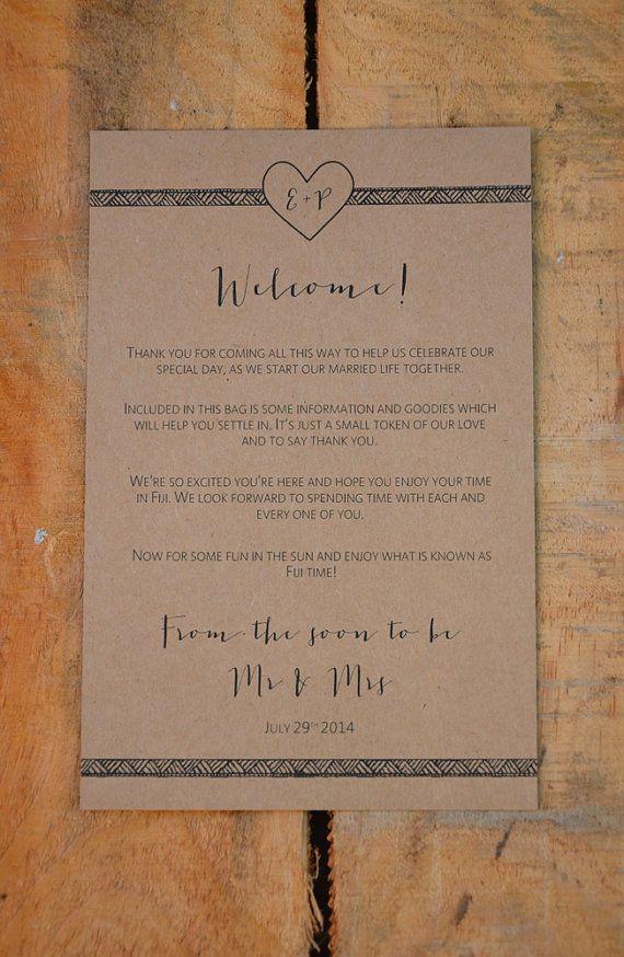 Destination Wedding Welcome Note  Heart & by WanderlustWeddings, $15.00