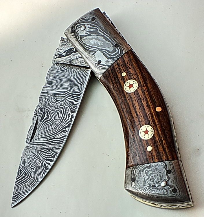 Handmade Damascus Folding Pocket Knife